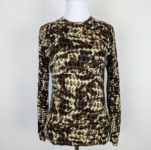 CAbi Brown Leopard Cotton Cashmere Knit Top